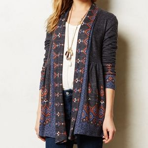 Anthro One September Laurette Open Front Cardigan